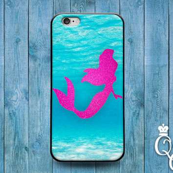 iPhone 4 4s 5 5s 5c 6 6s plus + iPod Touch 4th 5th 6th Gen Water Adorable Phone Case Cute Mermaid Silhouette Cover Cool Pink Ocean Blue Swim