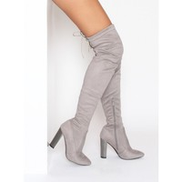 Lottie Grey Suede Silver Block Heel Thigh High Boots : Simmi Shoes