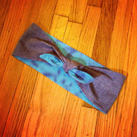 Denim Collection - Reversible Ocean Blue/Denim Rockabilly Head Scarf
