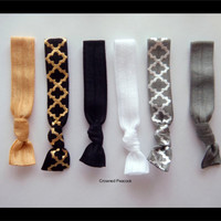 5 FOIL Hair TIES - Black and Gray w/ Gold and Silver Foil Print, VALENTINE Gift No Tug elasatic Yoga