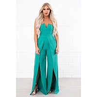 When I Rise Up Double Slit Jumpsuit (Green)