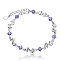 Womens 925 Sterling Silver Purple Crystal Love Chain Bracelet