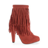 Phoebe11 Coral By Breckelle's, Suede Almond Toe Western Fringe Block Heel Ankle Boots