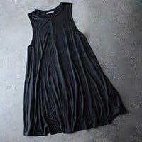 Final Sale - BSIC - Sleeveless Swingy Tank Dress in Black