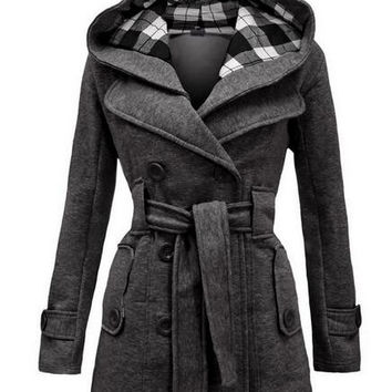Trench Coat for Women 2016 Fashion Turn-down Collar Slim Cashmere Sashes Double Breasted Spring Coat Woman Overcoat