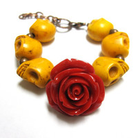 Day of the Dead Bracelet Sugar Skull Jewelry Rose Mustard Yellow Red
