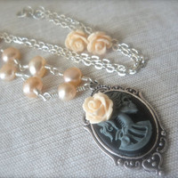 Champagne Vanilla Fresh Water Pearl Lolita Rose Day of the Dead Cameo Necklace Rose Earrings Champagne Grey Sterling wrapped 25x18mm
