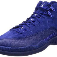 Jordan Men's Air 12 Retro, DEEP ROYAL BLUE/WHITE-METALLIC SILVER