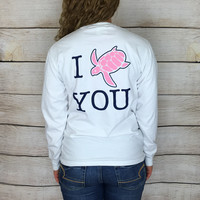 White Pocketed Turtley Love Tee