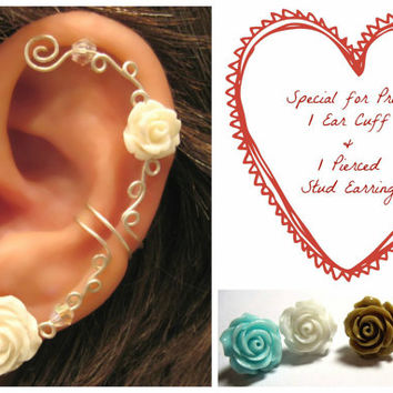 "Special for Prom No Piercing Cartilage Ear Cuff & Matching Pierced Stud Rose Earring Wedding Prom Bridal ""Roses are Colorful"" Helix Conch"