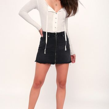Zip It Up Washed Black Distressed Denim Mini Skirt