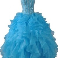 Sunvary Blue Rhinestone Ball Gown Pageant Dress Prom Dress for Quinceanera - US Size 12- Blue