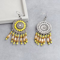 2018 New Fashion Dangle Earrings Round Yellow Tassel Beads Earrings Bohemian Sun flower Water wafer Earrings For Women Gift