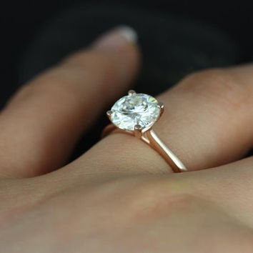 Skinny Flora 8mm 14kt Rose Gold Round FB Moissanite Tulip Cathedral Solitaire Engagement Ring (Other metals and stone options available)