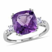 0.02 CT  Diamond TW And 4 1/6 CT TGW Created White Sapphire Amethyst-Africa Fashion Ring  10k White Gold GH I1;I2