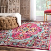20021 Pink Distressed Colorful Persian Oriental Area Rugs