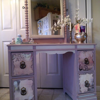 Vanity with mirror/whimsical theme/ antique vanity with mirror/Princess themed vanity