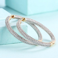 Swarovski  Micro Pave' Hoop Earrings in 18K Gold Plated