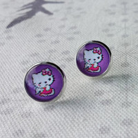 Gift for Girl, Hello Kitty Earrings,Glass Dome Earrings Stud Post, Gift for sisters, Bridesmaid Gift