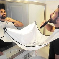 Pongee Beard Care Shave Apron Bib Trimmer Facial Hair Cape Sink Color Random