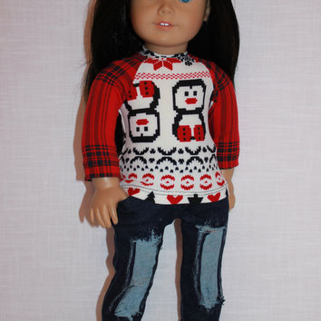 18 inch doll clothes, penguin print fair isle print shirt, dark blue denim ripped jeans, Upbeat Petites