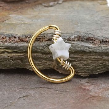 Crescent Moon and Star Gold Daith Rook Cartilage Hoop