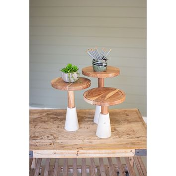 Set Of 3 Wood Top Risers With Stone Bases