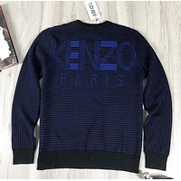 Kenzo New fashion letter couple long sleeve top sweater Blue