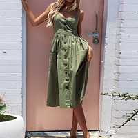 Women's Vintage Sexy Bohemian Tunic Pocketed Dress