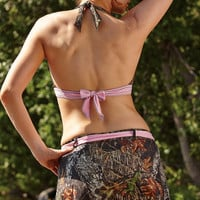 Wilderness Dreams Mossy Oak Pink Belted Swim Skirt