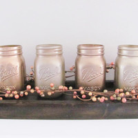 Metallic Mason Jars, Shabby Chic Decor, Distressed Painted Jars, Set of 4 Jars, Rustic Decor, Rustic Home Decor Set, Country, Farmhouse Set