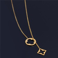 SHE WEIRE women neckless silver stainless steel chain necklace long necklaces & pendants collares clover fashion jewelry gold