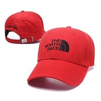 The North Face Summer Women Men Embroidery Sports Sun Hat Baseball Cap Hat Red