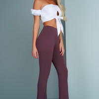 Glam Life Bell Bottoms - Eggplant