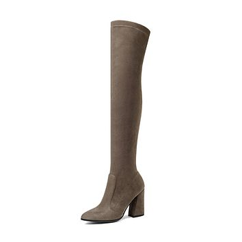 Tall Boots Chunky Heel Winter Shoes for Woman 9450