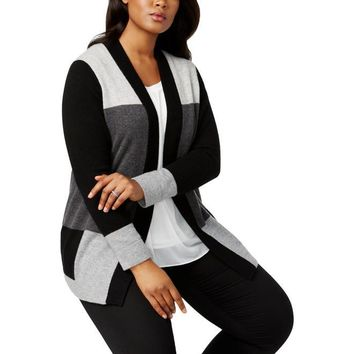 Plus Women's Cashmere Color-blocked Open-Front Cardigan Sweater