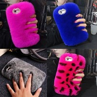 Retail By 1PC Luxury Winter Warm Case Fluffy hairy Fuzzy Plush Case Back Cover For iPhone 7 8 Plus,6 6S Plus,5 5S SE