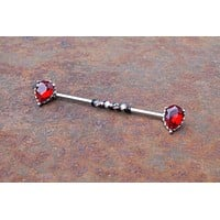 Red CZ Teardrop Industrial Barbell