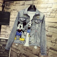 Fashion Denim Coats Women 2018 Spring Autumn Korean Style Cartoon Embroidered Badge Long Sleeve Slim Short Jeans Jacket Students