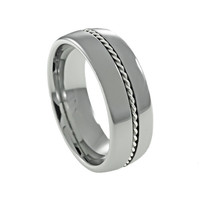 Silver Braid Dome men's tungsten promise ring