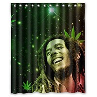 christmas decorations for home Bob Marley green weed 160x180cm Fabric bathroom accessories Shower Curtain