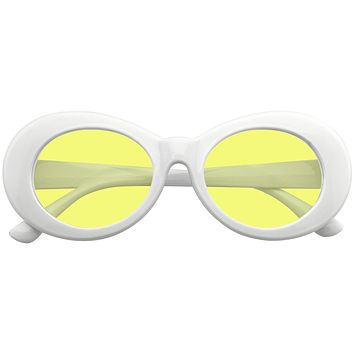 Oversize Round Goggle Retro Tapered Arms Clout Oval Color Tone White Sunglasses