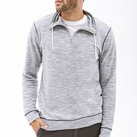 Marled Funnel-Neck Pullover Blue/White