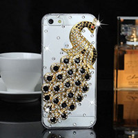 """iPhone 6 Case, MC Fashion Peacock Crystal Rhinestone 3D Diamante Hard Shell Phone Case Compatible for Apple iPhone 6 4.7"""" (2014) ONLY (Black)"""