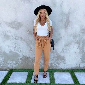 With Confidence Toffee High Waisted Belted Pants