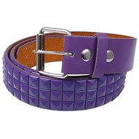 Purple Studded Leather Belt