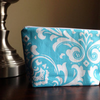 Make up, cosmetic bag, zipper pouch, clutch - light blue turquoise damask