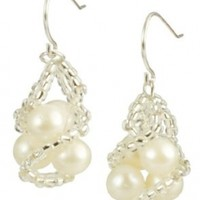 White Freshwater Cultured Pearl Antoinette Earrings with Sterling Silver