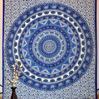 Mandala Tapestry Dorm Room Decor Art Tapestries Wall Hanging Bed Sheet Bedding Circle Hippie Bohemian Boho Throw Cotton QUEEN