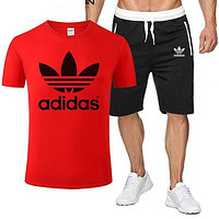 ADIDAS tide brand men and women sports fitness running set two-piece red